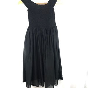 J CREW sheer black ruched sundress XS